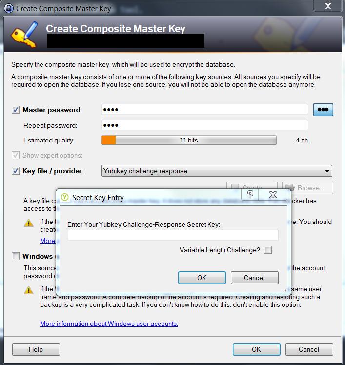 Keepass database creation