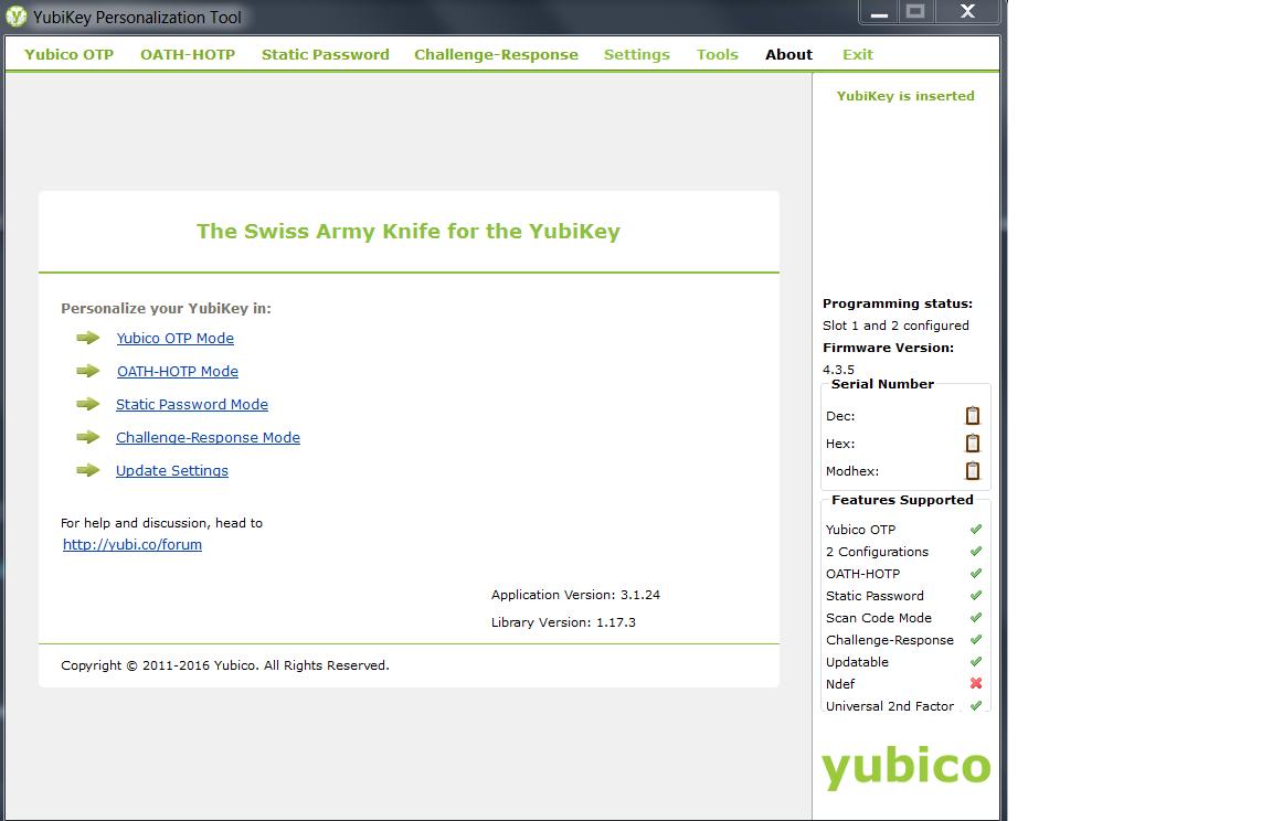 Yubikey Personalization Tool 1